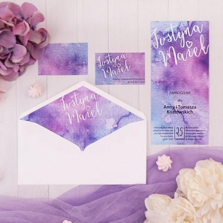 ZAPROSZENIE ślubne personalizowane Purpurowa Akwarela