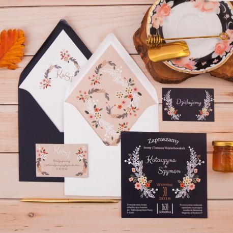 ZAPROSZENIE ślubne personalizowane Atramentowa Wariacja