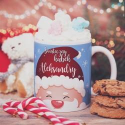 KUBEK prezent Świąteczny Kubek Uśmiechnięty Mikołaj personalizowany