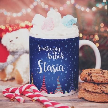 KUBEK prezent Świąteczny Kubek Skrzaty personalizowany
