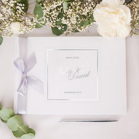 KSIĘGA GOŚCI weselnych Klasyczne Srebro BIAŁE/CZARNE KARTKI