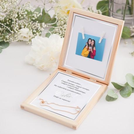 PREZENT dla Świadkowej w drewnianym pudełku Bransoletka Klasyczne Srebro