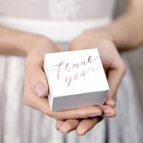 PUDEŁECZKA na prezenciki Thank You 10szt RÓŻOWE ZŁOTO
