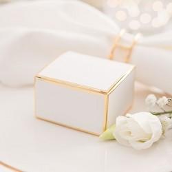 PUDEŁECZKA na upominki białe ze złotym brzegiem 10szt