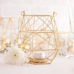LAMPION do zawieszenia geometryczny złoty śr. 6,5cm