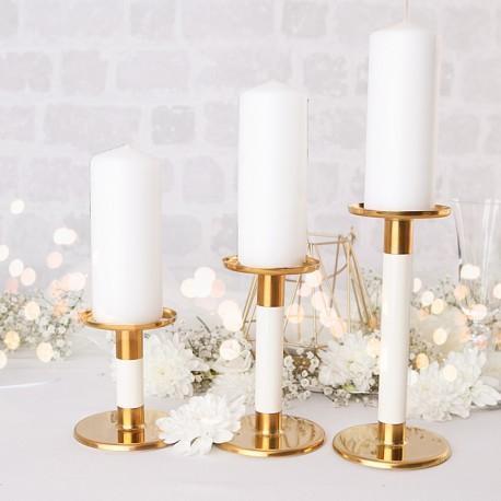 ŚWIECZNIKI na proste świece zestaw Golden Ivory 3szt