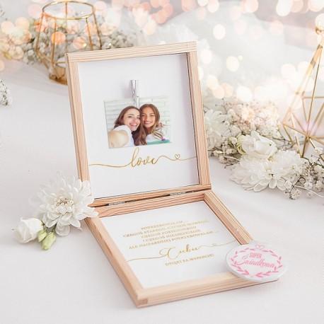 PREZENT dla Świadkowej w drewnianym pudełku Lusterko Only Love