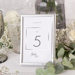 RAMKA srebrna na numerek na stolik