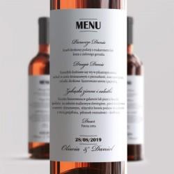 ETYKIETA na wino Menu Weselne