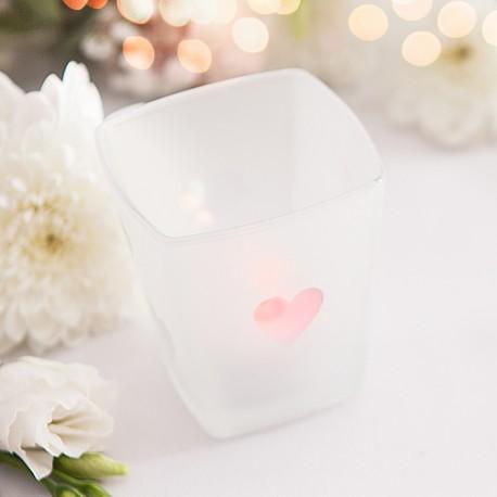 Szklany świecznik sweet w zestawie z tealightem