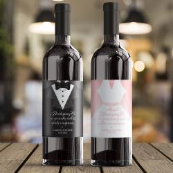 ETYKIETY na Wino Podziękowanie dla Mamy i Taty Sukienka & Frak 2szt