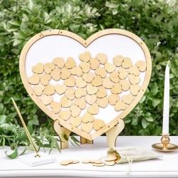 KSIĘGA GOŚCI weselnych drewniana w ramie Serce