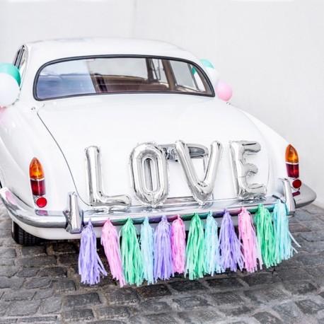ZESTAW dekoracyjny na samochód Love PASTELOWY