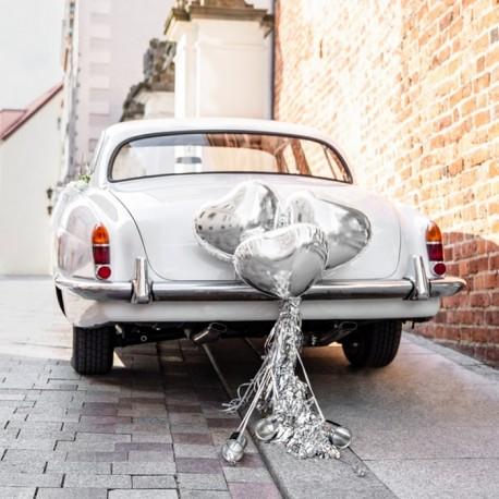 ZESTAW dekoracyjny na samochód Serca SREBRNY