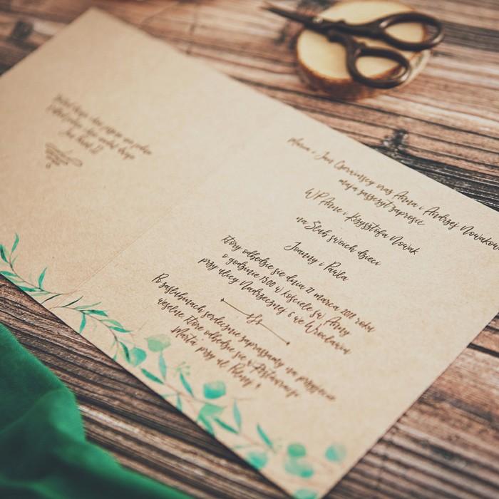 Zaproszenie ślubne Personalizowane Ekologiczne Slubnezakupypl