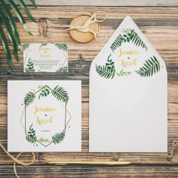 ZAPROSZENIE ślubne personalizowane Liść Paproci