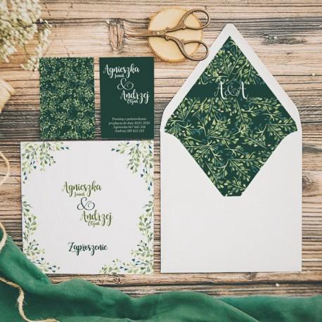 ZAPROSZENIE ślubne personalizowane Listki