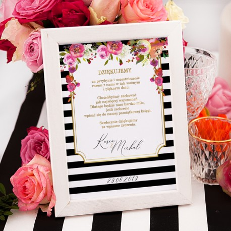 INSTRUKCJA do księgi gości w ramce kolekcja ślubna Wedding