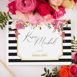 KSIĘGA GOŚCI weselnych kolekcja ślubna Wedding BIAŁE/CZARNE KARTKI