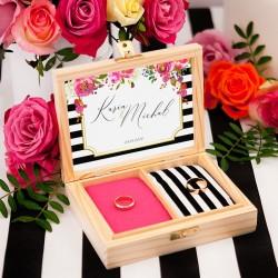 PUDEŁKO na obrączki drewniane kolekcja ślubna Wedding Z IMIONAMI