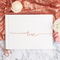 KSIĘGA GOŚCI weselnych z napisem Love ROSEGOLD