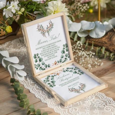 PUDEŁKO drewniane Prośba o Błogosławieństwo Boho Wedding z IMIONAMI