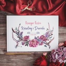 KSIĘGA GOŚCI weselnych Boho Flowers BIAŁE/CZARNE KARTKI