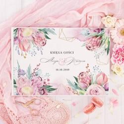 KSIĘGA GOŚCI weselnych Dream Flowers BIAŁE/CZARNE KARTKI
