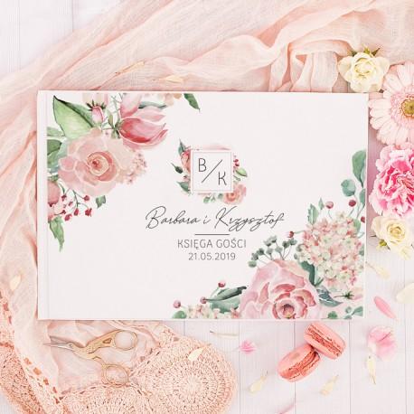 KSIĘGA GOŚCI weselnych Pastelowe Róże BIAŁE/CZARNE KARTKI