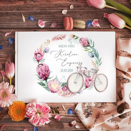 KSIĘGA GOŚCI weselnych Rower Miłości BIAŁE/CZARNE KARTKI
