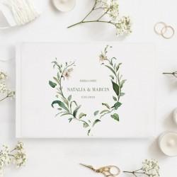 KSIĘGA GOŚCI weselnych Delikatne Lilie BIAŁE/CZARNE KARTKI