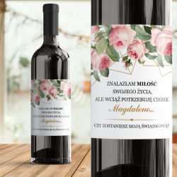 ETYKIETA na Wino Czy zostaniesz Moją Świadkową? Geometric Rose Personalizowana