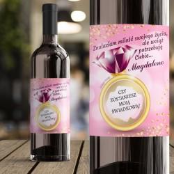 ETYKIETA na wino ze ZDRAPKĄ Pytanie do Świadkowej Różowy Brylant Personalizowana