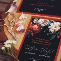 ZAPROSZENIE ślubne personalizowane Dark Flowers