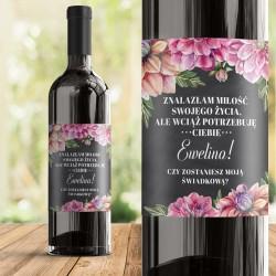 ETYKIETA na wino Pytanie Do Świadkowej Kwiaty Piwonii