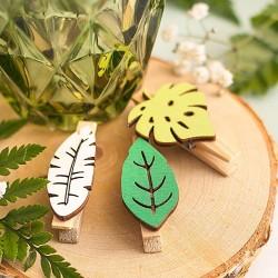 KLAMERKI drewniane dekoracyjne Zielone Listki 6szt