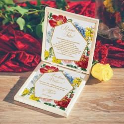 PUDEŁKO drewniane Prośba o Błogosławieństwo Subtelna Hortensja z IMIONAMI
