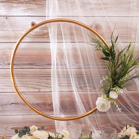 Złota OBRĘCZ dekoracyjna Białe Piwonie 60cm
