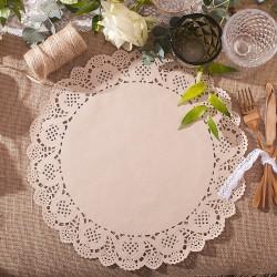 SERWETY wycinane pod ciasto, talerz Beżowa Koronka 35cm 10szt