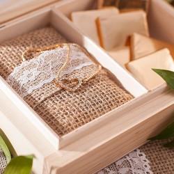 PREZENT dla Świadkowej w drewnianym pudełku Vintage Lace