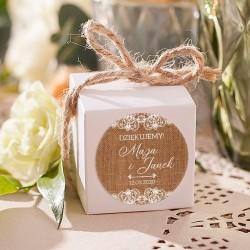 PUDEŁECZKA kwadrat Boho Wedding 10szt (+etykiety+kokardki)