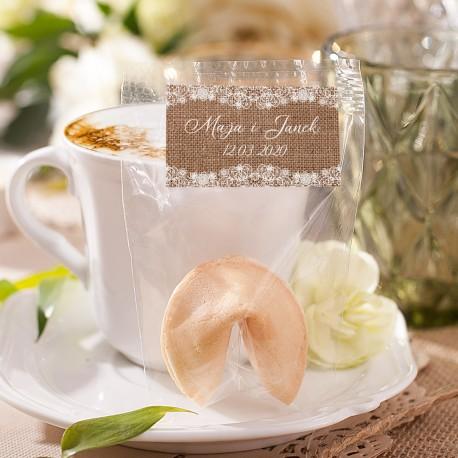 CIASTECZKO dla gości z wróżbą kolekcja ślubna KarmeLOVE (+etykieta)