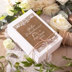 PUDEŁKA na ciasto z IMIONAMI kolekcja ślubna Wedding 10szt