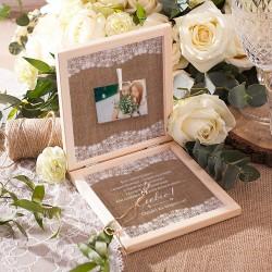 PREZENT dla Świadkowej w drewnianym pudełku Bransoletka Vintage Lace