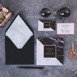 Zaproszenie ślubne personalizowane Marmurowa Czerń i Biel