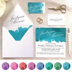 ZAPROSZENIE ślubne personalizowane Pastelowa Akwarela