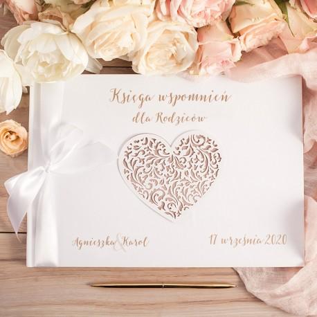 KSIĘGA Wspomnień dla Rodziców KarmeLOVE BIAŁE/CZARNE KARTKI (+wstążka)