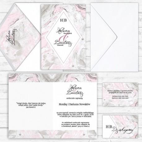 Zaproszenie ślubne personalizowane Marmurowy Róż