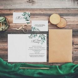 ZAPROSZENIE ślubne personalizowane Zielone Gałązki