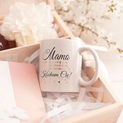 SKRZYNKA Podziękowanie dla MAMY Pastelowe Kwiaty z Migdałami i Kubkiem